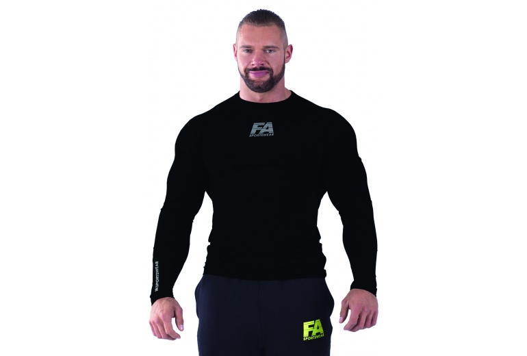 Longsleeve 01 Compression Dark Black Fitness Authority S